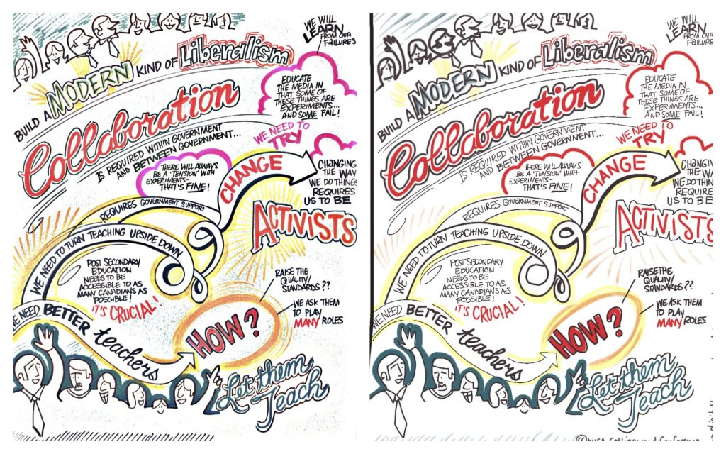 comparison of the same graphic recording (left on paper - right traced in procreate)