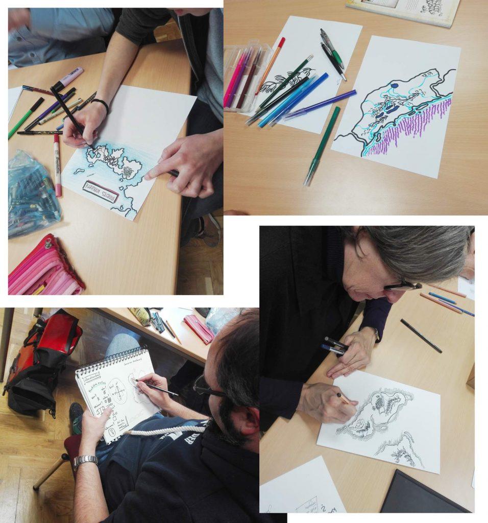Menschen beim Zeichnen ihrer persönlichen Karte