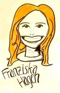 Karikatur einer rothaarigen breit grinsenden Frau