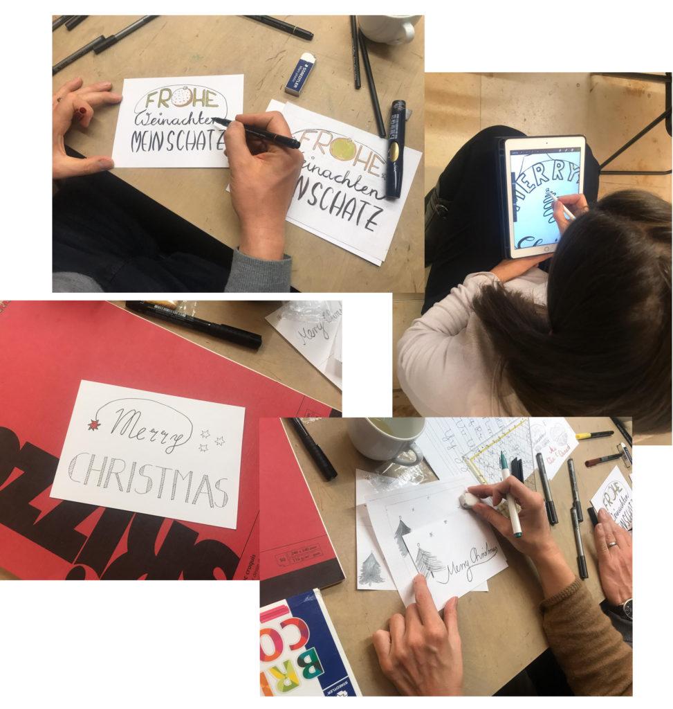 4 Beispiele Weihnachtskarten. verzierte Buchstaben, tannenbäume und Sterne dekorieren die Karten. Eine Teilnehmerin gestaltet auch am Tablet.