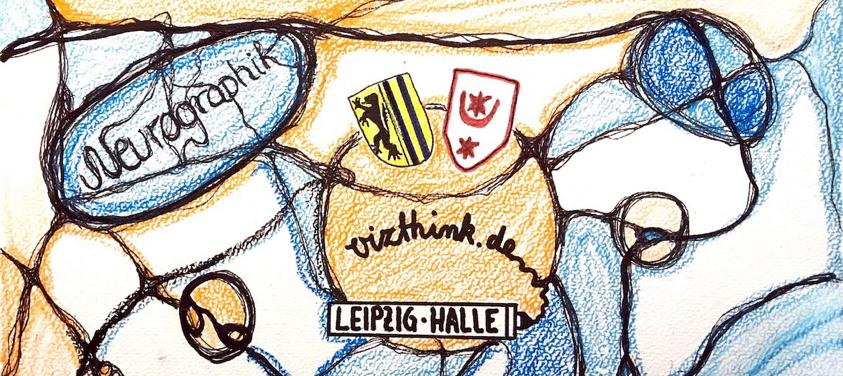 rundes orangenes Vizthink-Logo mit Stadtwappen von Halle und Leipzig und Schriftzug vizthink.de. Um zu kreisförmige organische Formen und Linien gefüllt mit Pastellorange und -blau. Sieht ein bisschen aus wie ein Meditationsbild